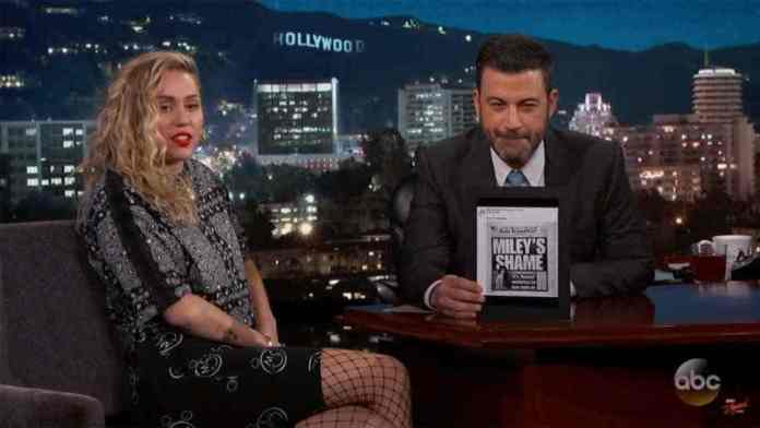 "Miley Cyrus Discusses Controversial Vanity Fair Photo On ""Jimmy Kimmel Live"" 2"