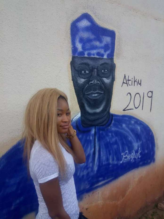 Beautiful Lady Draws Atiku 2019...See Atiku's Reaction 2
