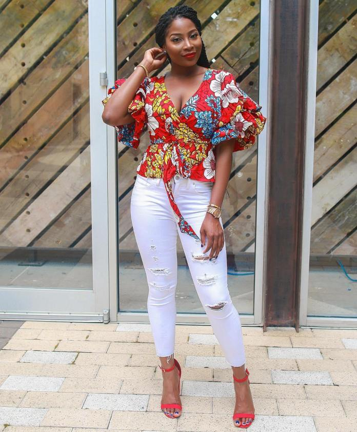 Ankara Style: Step Out In Style With These Trending Ankara Top-on-Jeans Designs For Your Outings 5