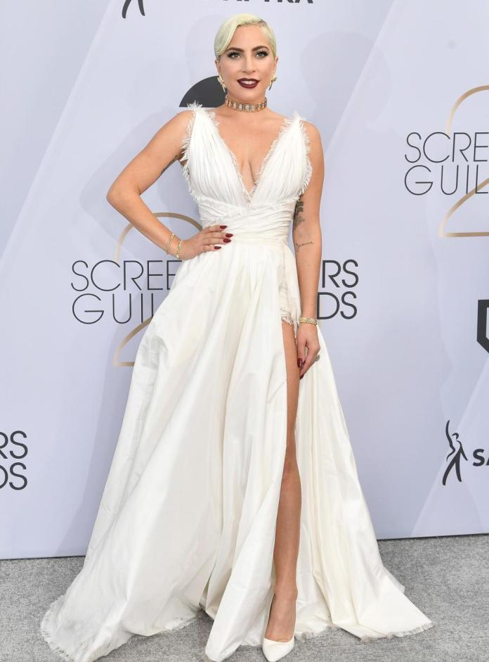 Who What Wear: Lady Gaga Is Breathtaking In White Dior Haute Couture Gown At SAG Awards 1