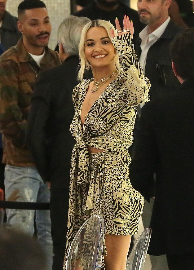 Rita Ora Flaunts Ample Cleavage In Plunging Animal Print Dress 3
