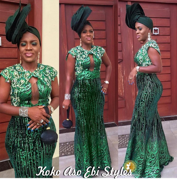 Aso Ebi Style: Green Is The Colour Of Freshness And These Five Designs Are Just That! 4