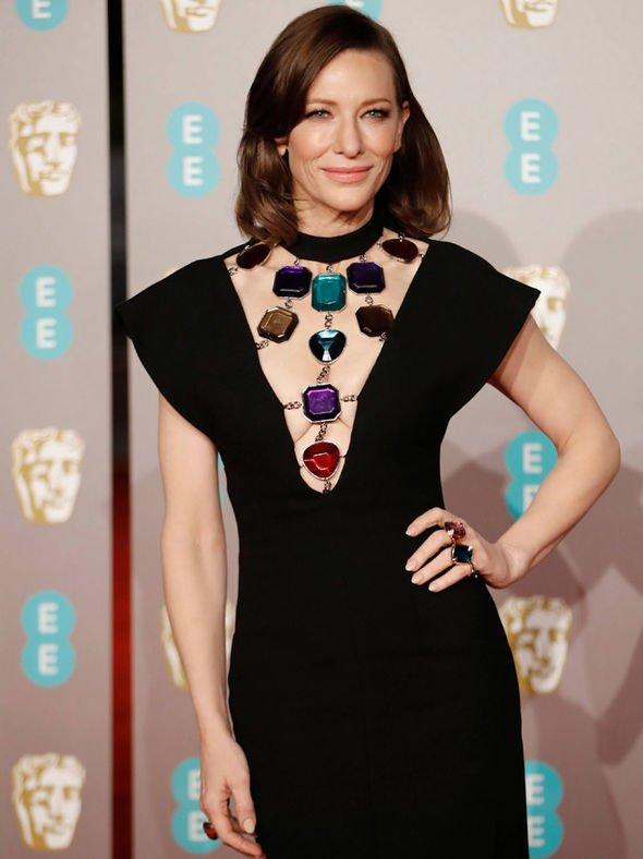 Style Stalking: Cate Blanchett Oozes Sophistication As She Goes Bra-less In Christopher Kane's Black Dress At BAFTAs 2019 2