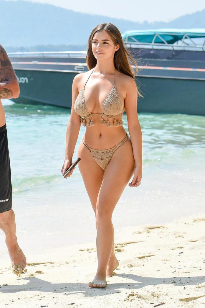 Sun, Sea And Swimwear: Demi Rose Flaunts Phenomenal Figure In A Fringed Bikini On Thailand Holiday 4