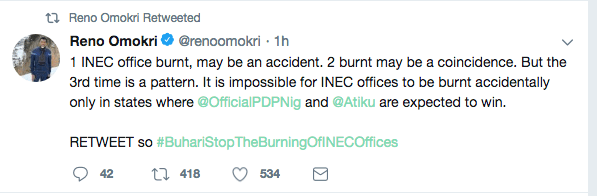 INEC Fire: It Is Impossible for INEC Offices To Be Burnt Accidentally Only In States Where PDP And Atiku Are Expected To Win - Reno Omokri 1