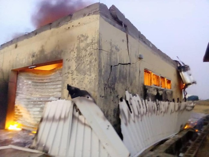 Drunk Security Officer Destroys INEC Office In Plateau, Just A Week To General Elections 2