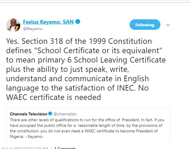 You Do Not Need A WAEC Certificate To Become The President Of Nigeria- Festus Keyamo 2