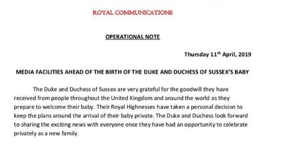 Ditching Royal Traditions? Meghan And Prince Harry Releases Statement Regarding The Birth Of Their Child 3
