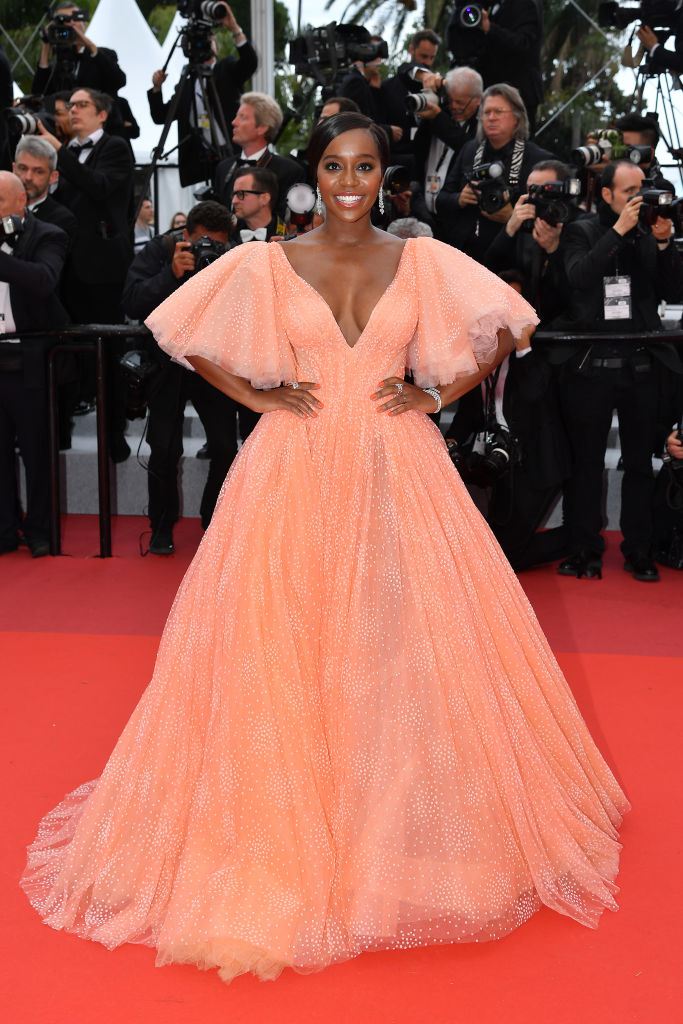 Black Princess! Aja Naomi King Looks Sensational In A Coral Zac Posen Gown At Cannes 3