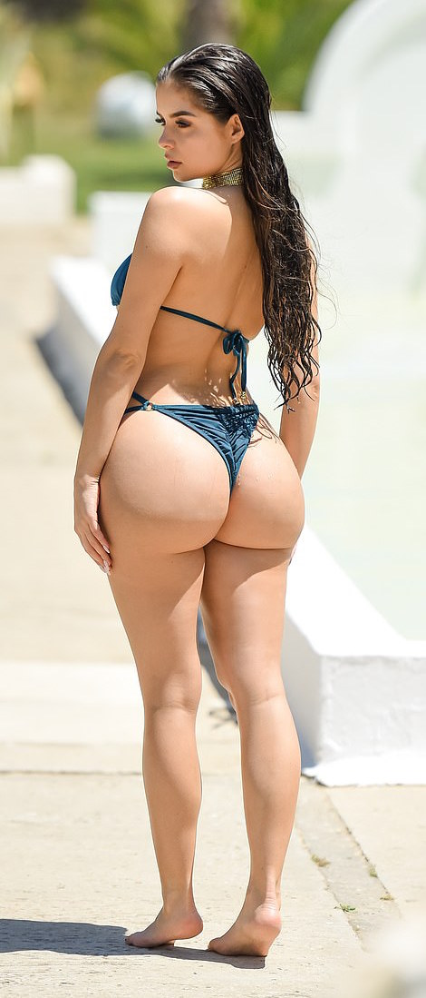 Demi Rose Flaunts Her Enviable Curves And Incredible Posterior In A Gold-encrusted Bikini 6