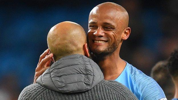 Vincent Kompany Screamer Against Leicester Puts Manchester City On Brink of Title 2