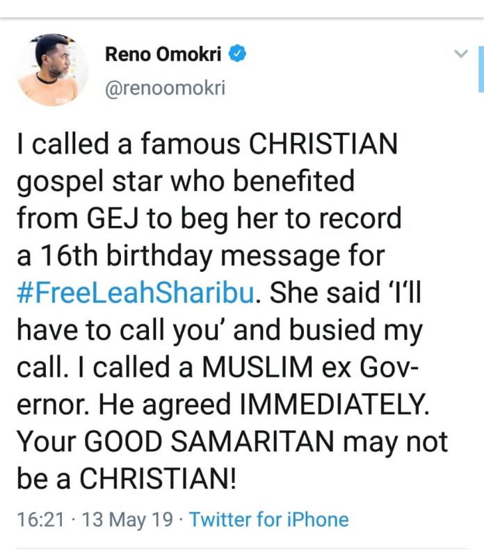 Your Good Samaritan May Not Be A Christian- Reno Omokri Shares His Experience With A Gospel Artiste 1