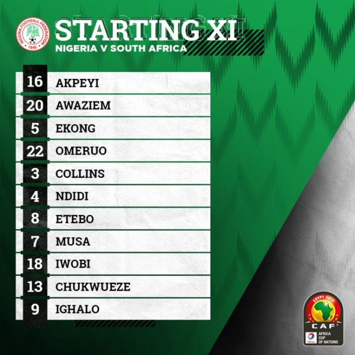 AFCON2019: Starting IX Of Super Eagles  Vs South Africa 1