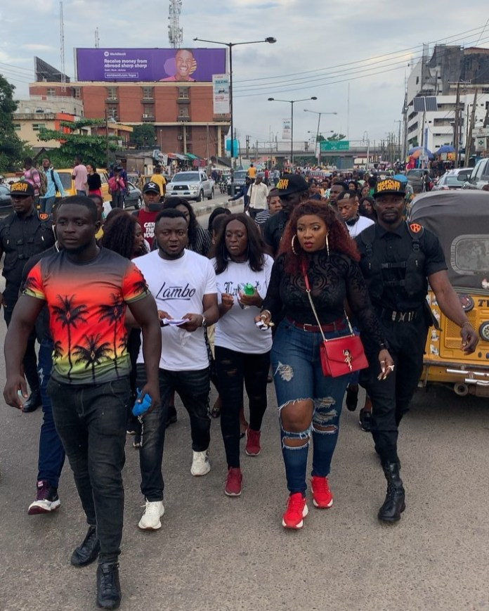 #BBNaijaFinale: Anita Joseph, Mc Galaxy Others Campaign For Mercy In Ikeja