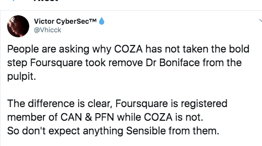 Nigerians Drag COZA After Foursquare Suspended Dr Boniface
