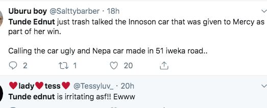 Tunde Ednut Shames BBNaija Innoson Car Prize, Calls It A Nepa