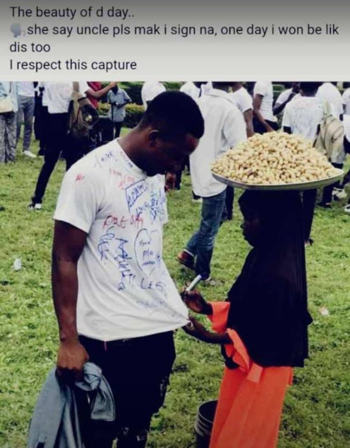 Dream Come True! Nana Fatima Selling Groundnuts Goes To School After Pleading To Sign On A Graduate's Vest