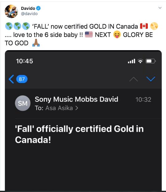 Shekpe! Davido's Fall Certified Gold In Canada