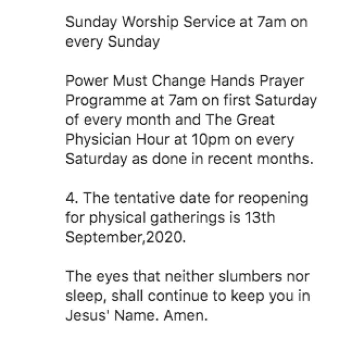 Our Lagos, Ogun Churches Will Not Open - MFM