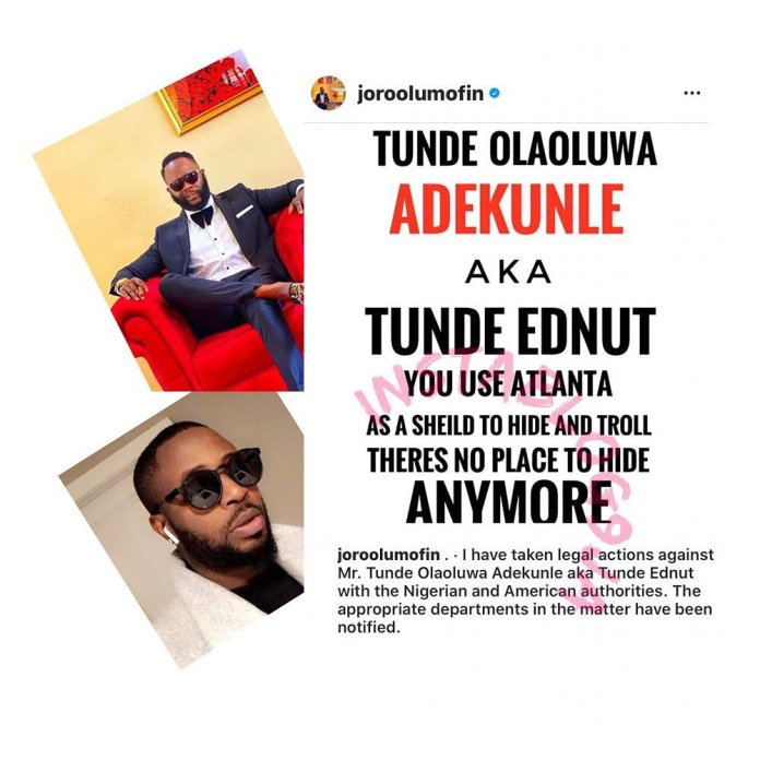 Joro Olumofin Takes Legal Action Against Tunde Ednut For Cyber Stalking And Defamation New Joro Olumofin Takes Legal Action Against Tunde Ednut 1 Popular nigerian entertainer turned social commentator, tunde ednut, has taken to his instagram page to advise ladies on what to do when fighting with a guy. joro olumofin takes legal action