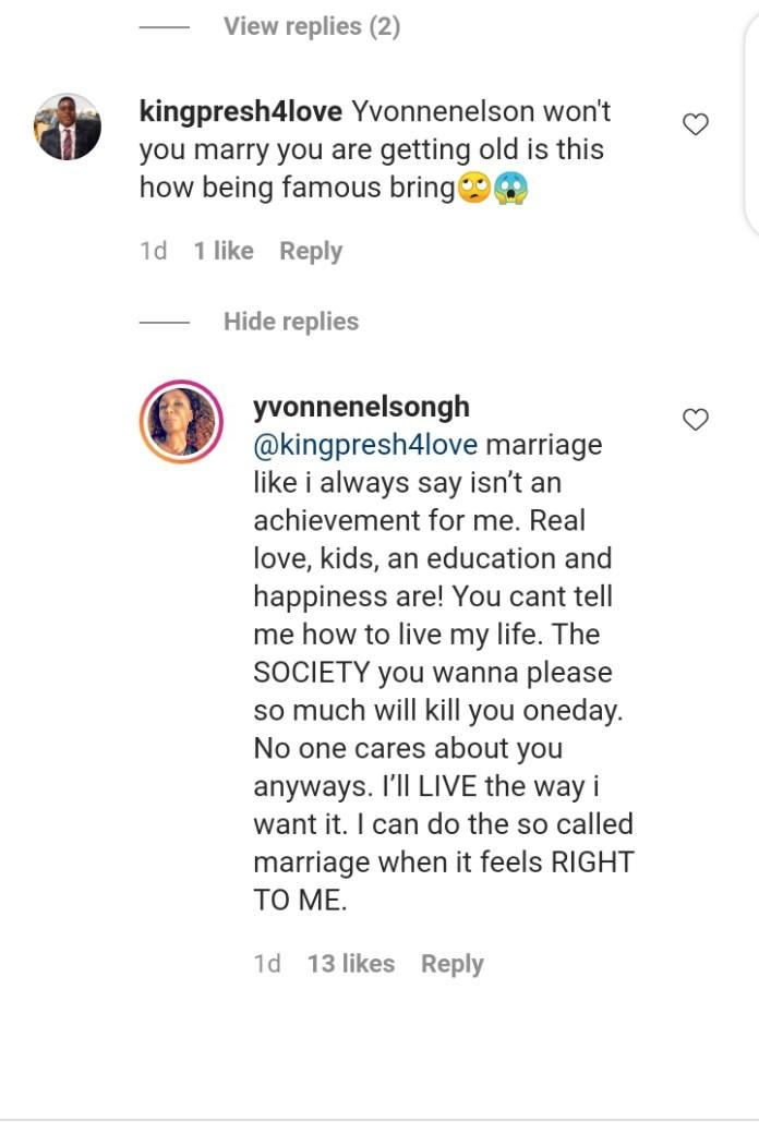 « Le mariage n'est pas un accomplissement » : Yvonne Nelson répond à un fan qui lui demande de se marier