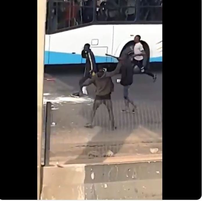 Thugs Arrive Alausa Protest Ground In Government Owned Bus To Attack Protesters