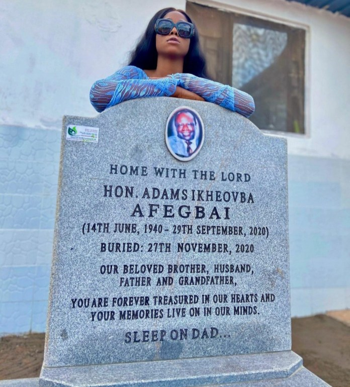 Lilian Afegbai Pens Emotional Tribute To Her Dad As She Visits His Grave