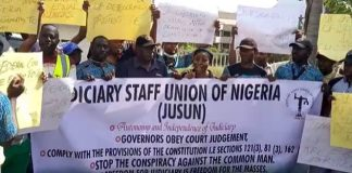 Nigerian Bar Association members march in Abuja