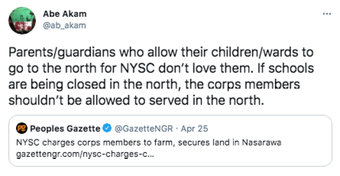 Tweeps Fear NYSC Camps Will Be Bandits' Next Target