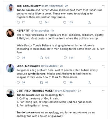 Tweeps drag clergies Tunde Bakare and Father Mbaka KOKO TV Nigeria 2