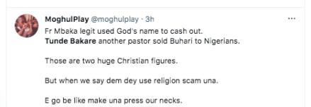 Tweeps drag clergies Tunde Bakare and Father Mbaka KOKO TV Nigeria
