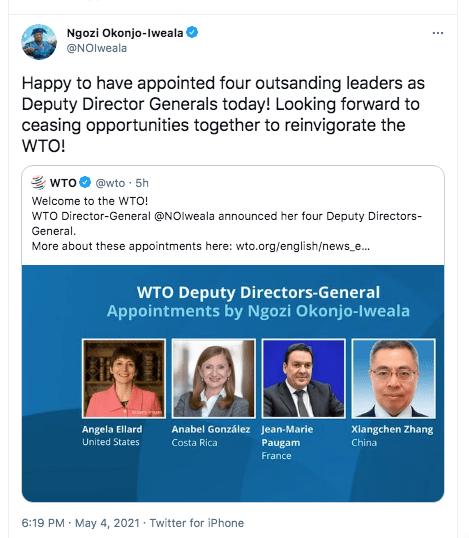WSW! Okonjo-Iweala Appoints 2 Women To Deputy Leadership Role, First Time In WTO's History