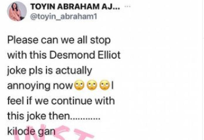 Stop With The 'Desmond Elliott' Jokes. It's Actually Annoying — Toyin Abraham