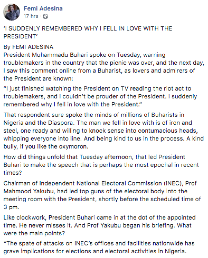What Nigeria Needs Now Is Iron And Steel, An Alchemy Of GMB And PMB - Femi Adesina