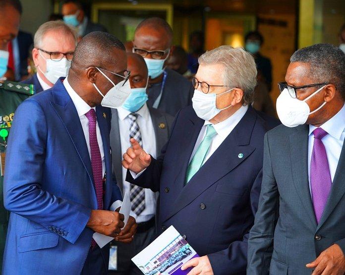 Sanwo-Olu, Dangote and VDMA rep at the Aliko Dangote Foundation-VDMA inauguration