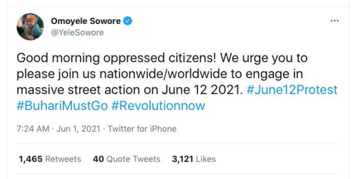 June 12 Protest: 'Wounded' Sowore Calls For Nationwide Protest Against Buhari's Administration