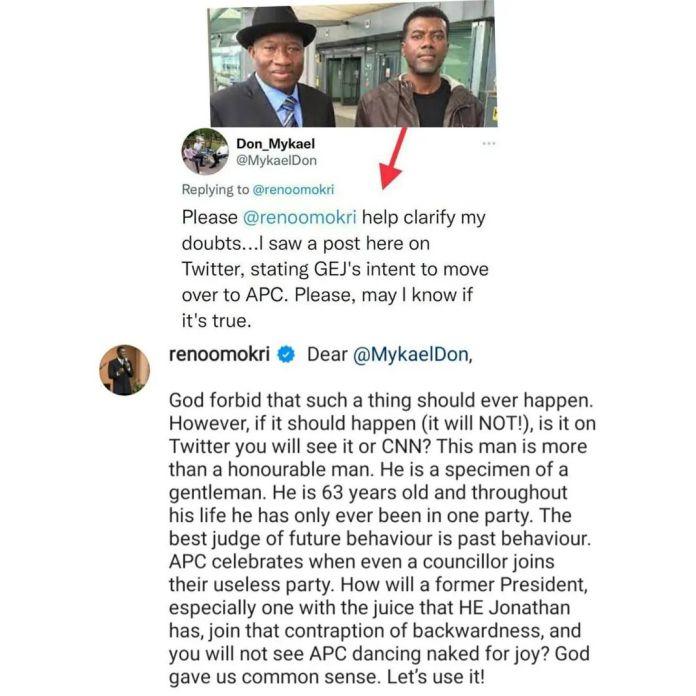 Reno Omokri Reacts To Rumors Of Goodluck Jonathan Planning To Defect To APC KOKOTVCNG