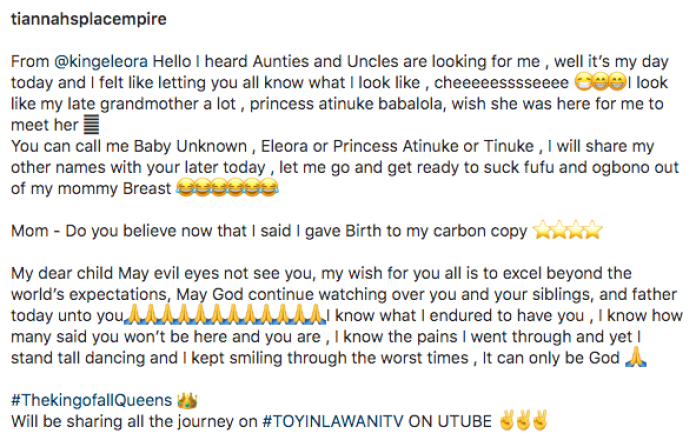 Baby Unknown!!! Toyin Lawani Reveals Baby's Face In New Snaps