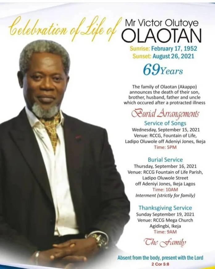 Victor Olaotan: Family Releases Funeral Arrangements