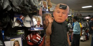 A customer wears Trump mask at Spirit Halloween. By: Kiana Gonzales
