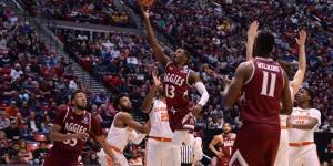 Sidney N'dir attempts a field goal against the Clemson Tigers in the first round of the NCAA Tournamnet on March 17 at Viejas Arena in San Diego, California. (Photo Courtesy of NM State Men's Basketball Facebook)
