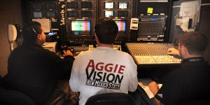 AggieVision staff work the control truck adjacent to the softball field. (Photo courtesy of NMSU)