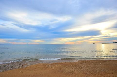 夕日の海岸