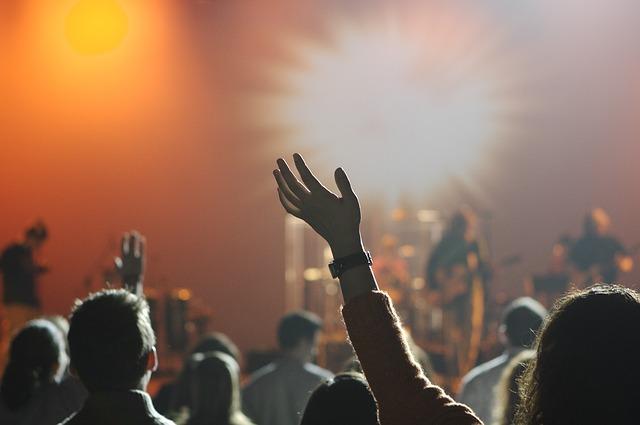 ライブを聞く観客の画像