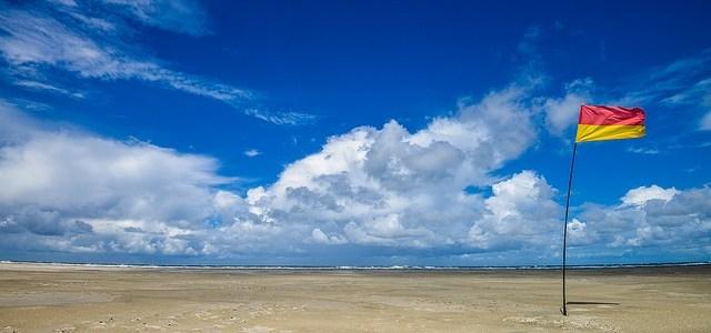 浜辺と旗の画像