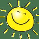 笑顔の黄色い太陽の画像
