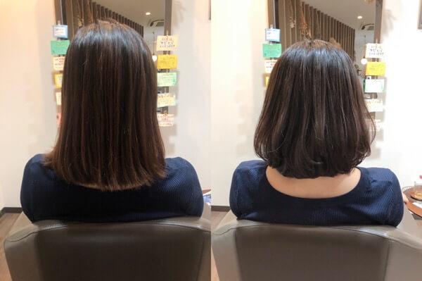【箕面大阪】縮毛矯正をしてから後日柔らかく見せるヘアカラーで透明感を