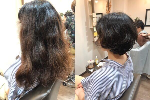 ロングになったくせ毛のお客様をばっさりくせを生かしたショートにカット【箕面大阪】