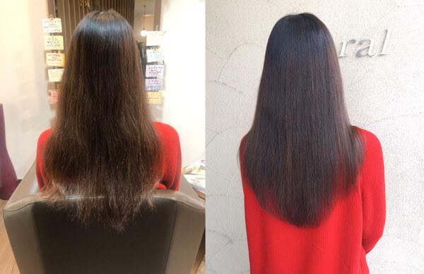 2週間後のカラーと艶髪オーダーメイドトリートメントでチリチリの毛先をさらに綺麗に【箕面 大阪】