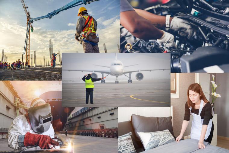 特定技能2号の対象となる造船・自動車整備・建設・宿泊・航空業